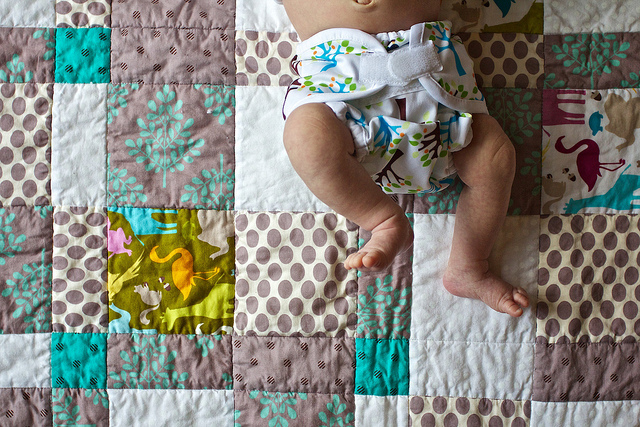 Baby in cloth diaper
